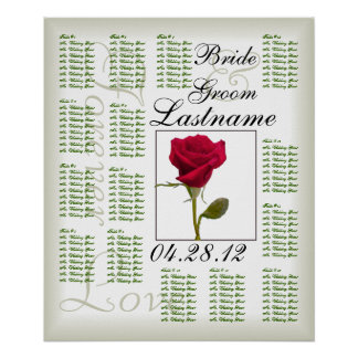 One Red Rose Wedding Guest Seating Chart