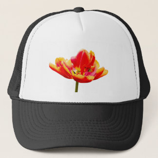 One red tulip flower on white background trucker hat