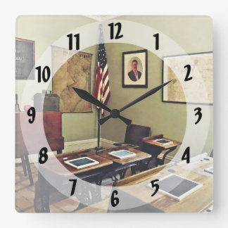 One Room Schoolhouse In New Jersey Square Wall Clock