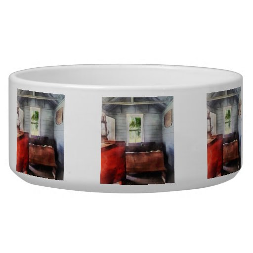 One Room Schoolhouse with Hurricane Lamp Pet Bowls