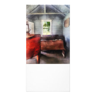 One Room Schoolhouse with Hurricane Lamp Photo Card Template