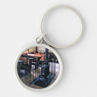 One Room Schoolhouse With Stove Keychain