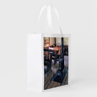 One Room Schoolhouse With Stove Reusable Grocery Bag
