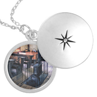 One Room Schoolhouse With Stove Silver Plated Necklace