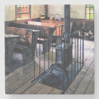 One Room Schoolhouse With Stove Stone Coaster