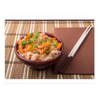 One serving of rice vermicelli hu-teu postcard