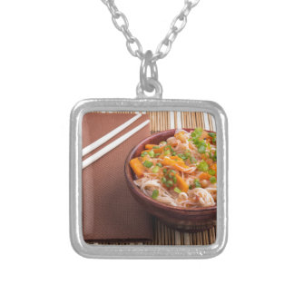 One serving of rice vermicelli hu-teu silver plated necklace