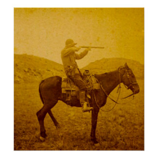 One Shot on Horseback Vintage Sepia Poster