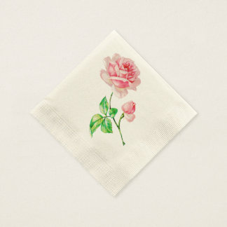 One single Vintage Pink Rose Paper Napkins