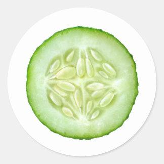 One slice of cucumber classic round sticker