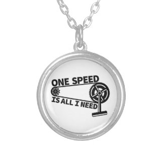 One Speed Is All I Need, single speed fixie Silver Plated Necklace