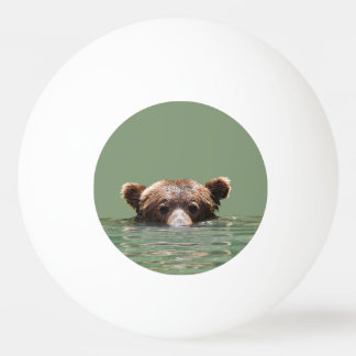 One Star Ping Pong Ball w/ grizzly bear