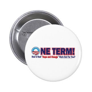 One Term How d That Hope And Change Work Out Pinback Button