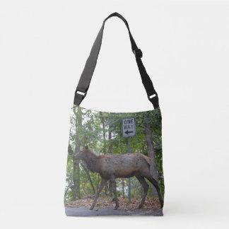 One Way Subordinate Rut Weary Young Bull Elk Crossbody Bag