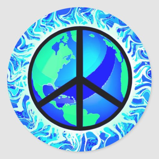 One World Peace Sign Round Sticker