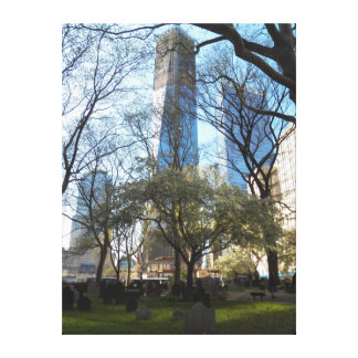 One World Trade Ctr from St Pauls Chapel Wrapped Stretched Canvas Prints
