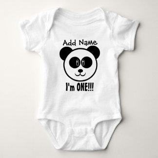 One Year 1st Birthday with Panda V03BA Baby Bodysuit