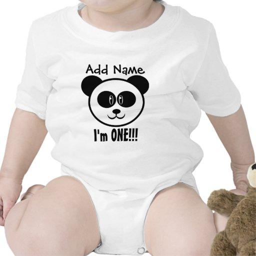 One Year 1st Birthday with Panda V03BA Bodysuits