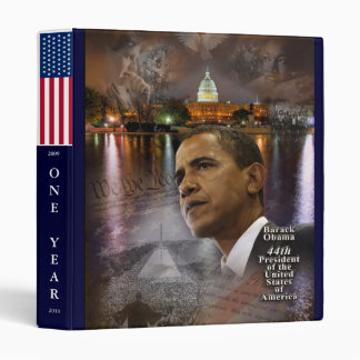ONE YEAR COMMEMORATION OBAMA PRESIDENCY 3 RING BINDERS