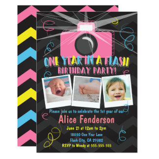 One Year in a Flash Photo Invitation