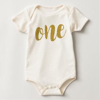 One Year Old Cute Golden Glitter Print Bodysuit