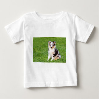 One young sheltie dog sitting on grass baby T-Shirt