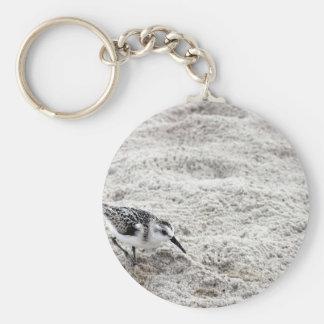 One Young Snowy Plover Bird Basic Round Button Keychain