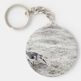 One Young Snowy Plover Bird Keychain