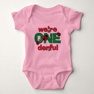 ONEderful Ladybug Twins 1st Birthday Baby Bodysuit
