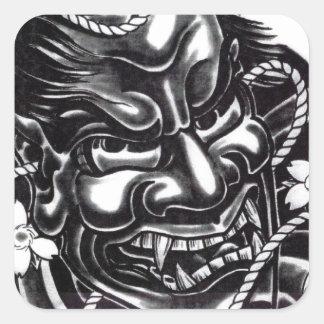 Oni Mask Japanese Design Square Sticker