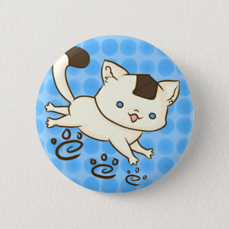 Onigiri Cat Frolic Button (Blue)