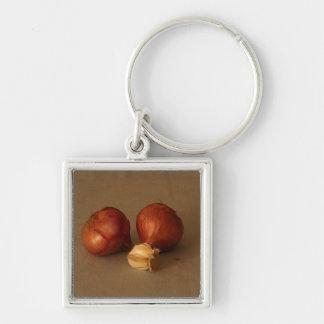 Onion & Garlic Silver-Colored Square Keychain