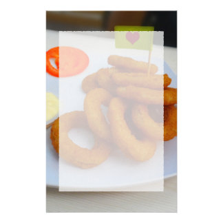 Onion Rings with Mayonnaise and Tomato Stationery Design