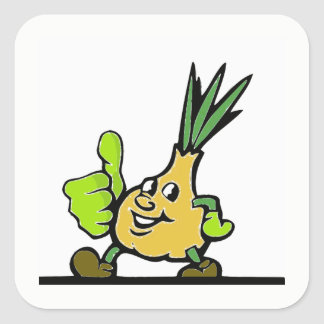 Onion With Thumbs Up Square Sticker