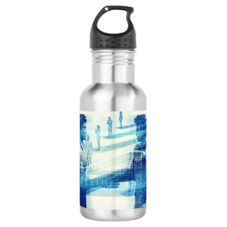 Online Meeting for Business with Men Shaking Hands 532 Ml Water Bottle