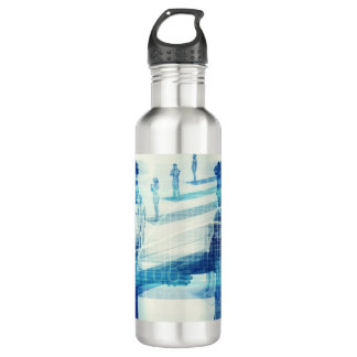 Online Meeting for Business with Men Shaking Hands 710 Ml Water Bottle