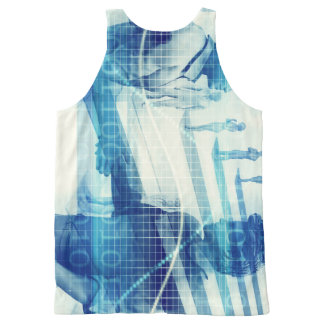 Online Meeting for Business with Men Shaking Hands All-Over-Print Tank Top