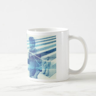 Online Meeting for Business with Men Shaking Hands Coffee Mug