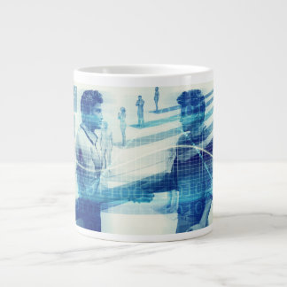 Online Meeting for Business with Men Shaking Hands Large Coffee Mug
