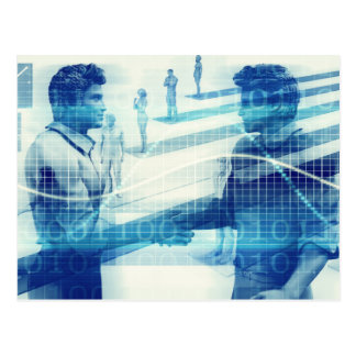 Online Meeting for Business with Men Shaking Hands Postcard