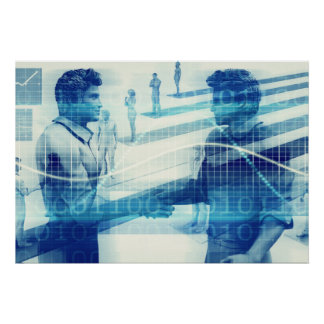 Online Meeting for Business with Men Shaking Hands Poster