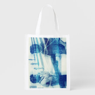Online Meeting for Business with Men Shaking Hands Reusable Grocery Bag