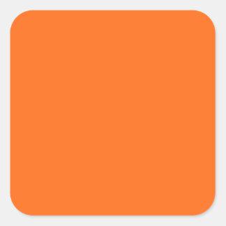 Only brilliant orange simple solid color square sticker