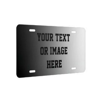 ONLY COLOR gradients - black grey + your text License Plate