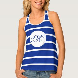 ONLY COLOR STRIPES - blue + your color & monogram Tank Top