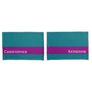 ONLY COLOR STRIPES - plum violet Pillowcase
