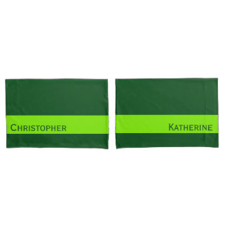 ONLY COLOR STRIPES - spring green + your name Pillowcase