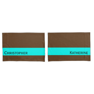 ONLY COLOR STRIPES - turquoise + your backg. Pillowcase