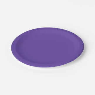 Only deep violet purple solid color OSCB49 Paper Plate