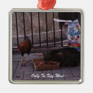 """Only In Key West""Cat & Rooster Christmas Ornament"